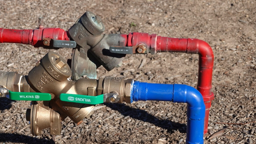 Backflow test. A backflow system outdoors.